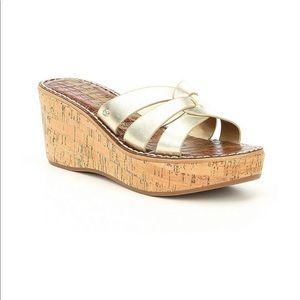 Sam Edelman Reynere Wedge Slip On Sandals In Gold